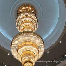 Modern Led Big Gold Elegant Large Pendant Lamp Luxury K9 Crystal Staircase Long Chandelier Lighting For High Ceiling