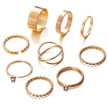 9pcs Fashion Rings Set Wedding Party Engagement Alloy Rings Jewelry Set