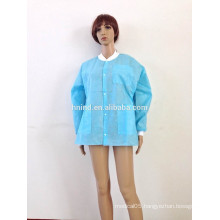 45gsm SMS disposable nonwoven jacket with knitted cuffs