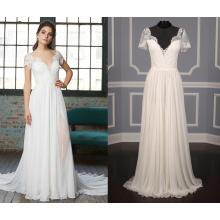 Cap Sleeve Cover Button Sheath Wedding Dress