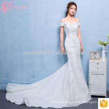 Günstige Trompete Reine weiße Brautkleider Made in China