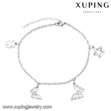 74525 encanto de la moda rodio estrella mariposa imitación joyería de acero inoxidable tobillera