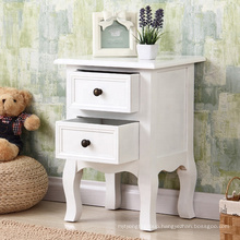 Modern custom White wooden bedside cabinet with two drawers