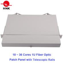 36 Cores 1u Rack Mount Patch Panel with Telescopic Rails