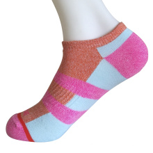 Medio cojín poli moda no mostrar color bloque calcetines (jmpn01)