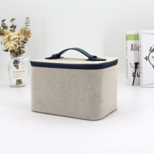 High Quality Travel Cotton Case Beauty Makeup Cosmetic Case Luxury Bag with PU Handle