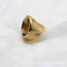 Punk Style Stainless Steel Wide Gold Ring For Women