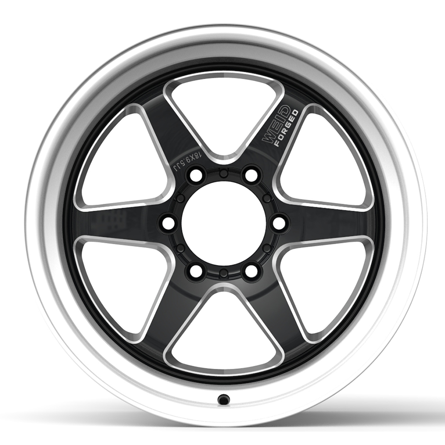 6-Spoke Pick-up Rim 6x139.7 Black Machined Lip