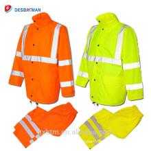 Économie série classe 3 salut vis réfléchissant vêtements de manteau de pluie en gros veste imperméable de sécurité de capot