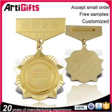 Medalla de oro de placas de aleación de metal promocional y medalla de etiquetas