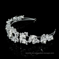 Silber handgemachte Haarschmuck Noble Bling Crystal Pearl Braut Haarbänder Hochzeit Kopfbedeckungen Schmuck Frau