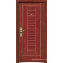 Porta blindada de madeira de aço / porta de madeira da segurança do aço (YF-G9002)