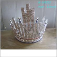Venta al por mayor Perla de gran tamaño desfile tiara completa alta reyes coronas imágenes reyes coronas imágenes tiara