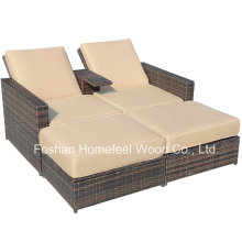 Outsunny Outdoor 3-Piece Wicker Patio Love Seat Lounge Chair Set