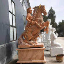 High quality sunset red marble stone horse with man statue