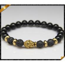 Fashion 8mm Natural Stone Onyx Gold Buddha Head Mens Bracelet (CB0125)