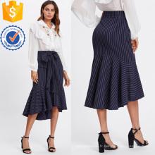 Fishtail Dip Hem Rayé Jupe Fabrication En Gros Mode Femmes Vêtements (TA3100S)