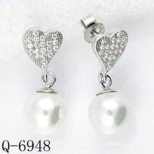 Derniers styles Boucles d'oreilles en perle 925 en argent (Q-6948)