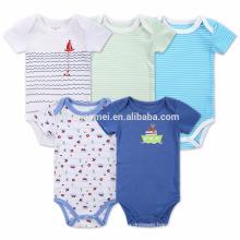 2017 New Design Knitted Stripe Baby Cotton Romper Set Infant Boys Onesie Wholesale Kids Five Pieces Baby Romper Jumpsuit