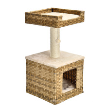 Small Rattan Cheap Cat Tree House Cat Scratcher Tree