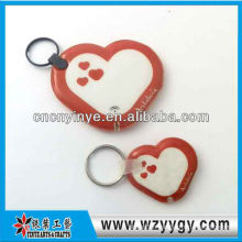 Heart Shape advertising for school PVC film keychain with led