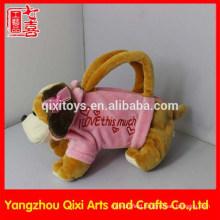 Wholesale plush toy hand bag cute valentine dog bag pink animal bag