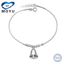 Оптовый серебряный браслет из серебра с колокольчиком и серебряными браслетами с колокольчиком в родиевом покрытии