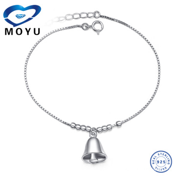 Wholesale indian jewelry Silver bell charm anklet silver anklet with bells in rhodium plated