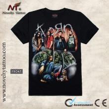 T100293 Padrão tatuagem preto T-shirt