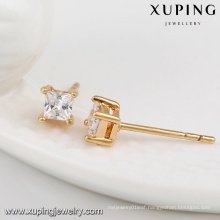 23594- Xuping Jewelry Fashion 18K Gold Plated Stud Earrings With Square Zircon
