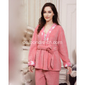 Premium Damen Kimono Soft Touch Fleece Pyjamas