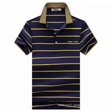 OEM Short Sleeve CVC Yarn Dyed Stripe Polo Shirt