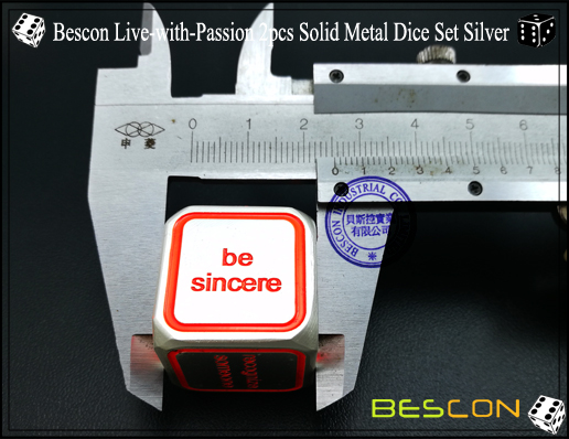 Bescon Live-with-Passion 2pcs Solid Metal Dice Set Silver-6