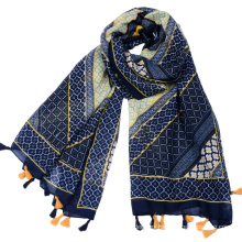 Factory supply Large diamond pattern geometric printing viscose navy blue turkey scarf