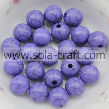 Round Brilliant Plastic Latest Designed Cracked Purple Smooth Finding Beads