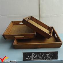 Set 3 Vintage Farm Style Retângulo de madeira sólida bandeja de servir