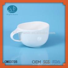 Tasse à soupe de céramique blanche blanche, tasse à soupe, tasse de nouilles pour enfants