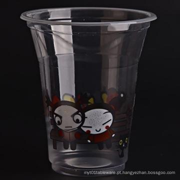 Copo de plástico transparente com tampas planas para café gelado