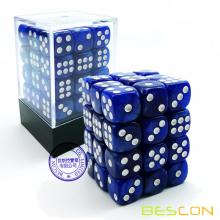 Bescon 12mm 6 Sided Dice 36 in Brick Box, 12mm Six Sided Die (36) Block of Dice, Marble Blue