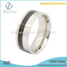 Moda titânio aço mens banda anel, preto fibra de carbono jóias anel