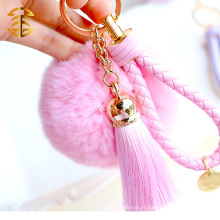 Highly Genuine Rabbit Fur Ball KeychainTrinket 8cm Porte-clés Porte-clés en fourrure