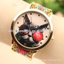 Reloj hecho a mano de la joyería de la tela del wooven hecho a mano del búho