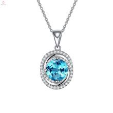 Benutzerdefinierte Silber 925 Anhänger Die neue Blue Diamond Halskette