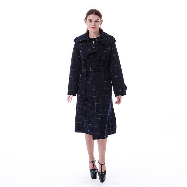 New blue checked cashmere coat