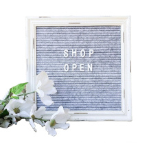Gray Felt Letter Board with Rustic White Wood Vintage Frame andStand Antique Changeable Message Board 350 White Alphabet letters