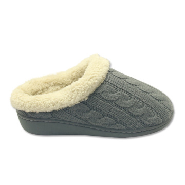 ladies full fuzzy house shoes cable knit slippers