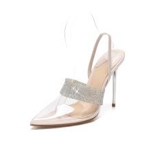 Clear High Heel Pointed Toe Stiletto Heel Mule Summer Pump Shoes Women Sandals