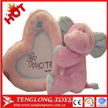 Marco de la foto suave del juguete de la felpa del elefante del crecimiento del bebé