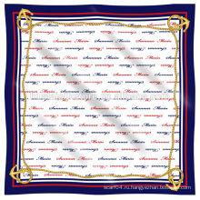 2014 Новый 100% шелковый шифон логотип печатных шелковый шарф