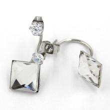 Ювелирные кристаллы из белого квадрата Серьги с двумя боковыми серьгами